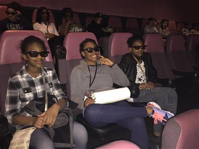 Teens during a Teen Night Out outing at movies